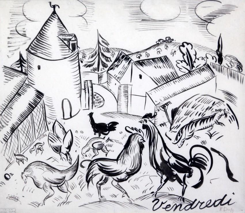"""<span class=""""artist""""><strong>Raoul Dufy</strong></span>, <span class=""""title""""><em>Cour de ferme, 'Vendredi'</em>, 1910</span>"""