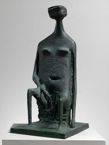 "<span class=""artist""><strong>Kenneth Armitage</strong></span>, <span class=""title""><em>Seated woman with square head (double base)</em>, Conceived 1955, cast 1986</span>"