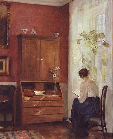 "<span class=""artist""><strong>Carl Holsoe</strong></span>, <span class=""title""><em>Still life with young girl reading</em></span>"