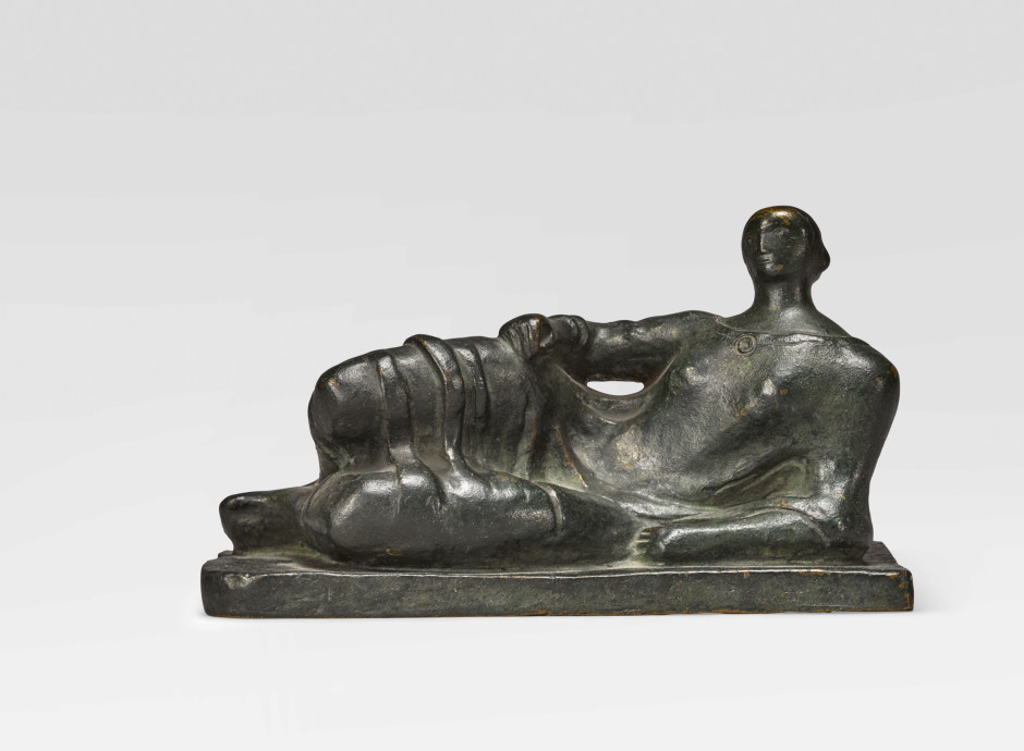 """<span class=""""artist""""><strong>Henry Moore</strong></span>, <span class=""""title""""><em>Maquette for Reclining Figure</em>, Conceived in 1945</span>"""