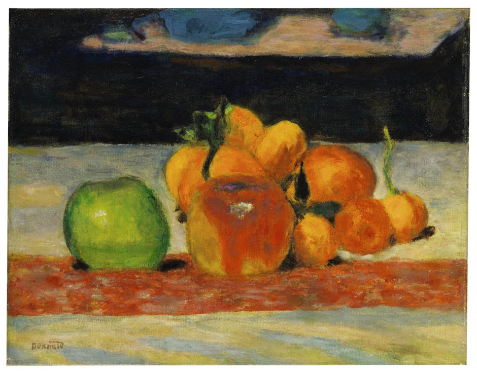 "<span class=""artist""><strong>Pierre Bonnard</strong></span>, <span class=""title""><em>Nature morte, fruits</em>, c.1942</span>"