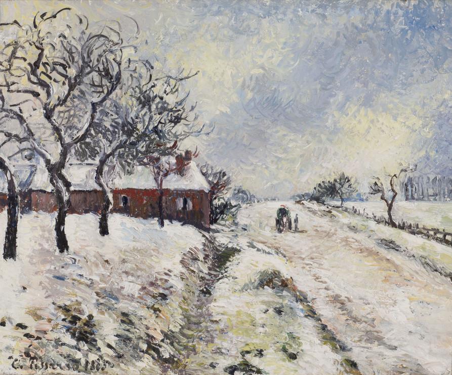 """<span class=""""artist""""><strong>Camille Pissarro</strong></span>, <span class=""""title""""><em>Route enneigée avec maison, environs d'Eragny</em>, 1885</span>"""