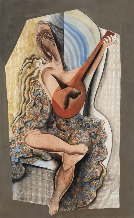 "<p><span class=""artist""><strong>Béla Kadar</strong></span>, <span class=""title""><em>Woman Playing the Guitar</em>, c. 1950</span></p>"