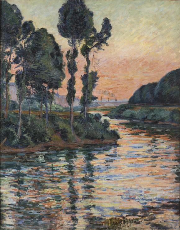 """<span class=""""artist""""><strong>Jean Baptiste Armand Guillaumin</strong></span>, <span class=""""title""""><em>Coucher de Soleil à Charenton or La Seine a Charenton</em>, 1885</span>"""