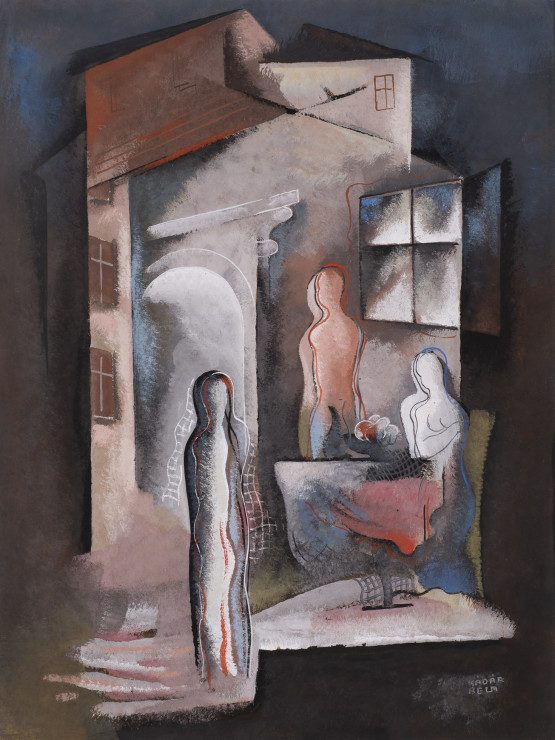"<p><span class=""artist""><strong>Béla Kadar</strong></span>, <span class=""title""><em>Three Figures by a Table</em>, c. 1936-38</span></p>"