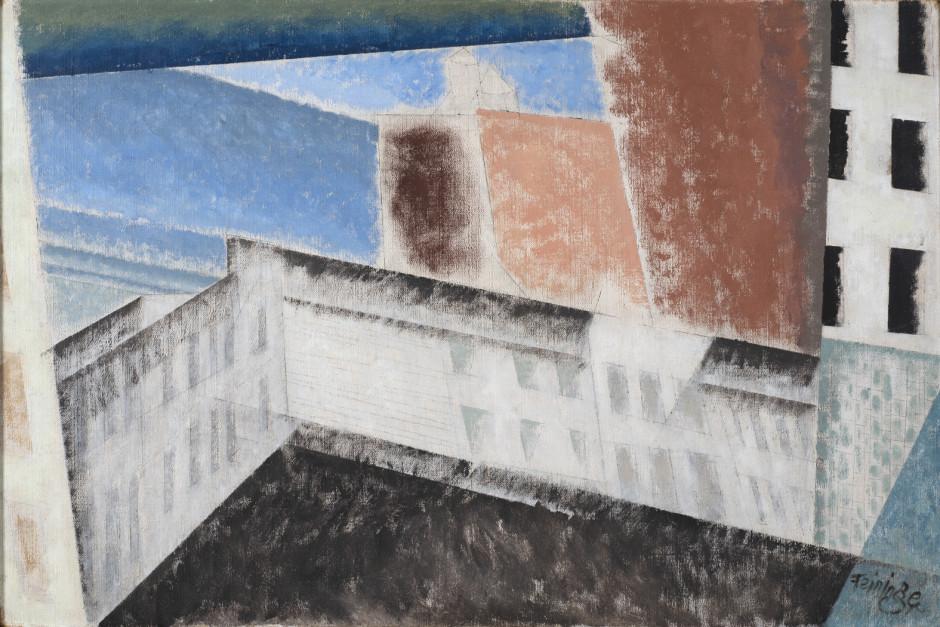 "<span class=""artist""><strong>Lyonel Feininger</strong></span>, <span class=""title""><em>Architectural Composition I</em>, 1940</span>"