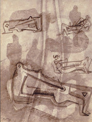 "<span class=""artist""><strong>Henry Moore</strong></span>, <span class=""title""><em>Reclining figures</em>, 1931</span>"