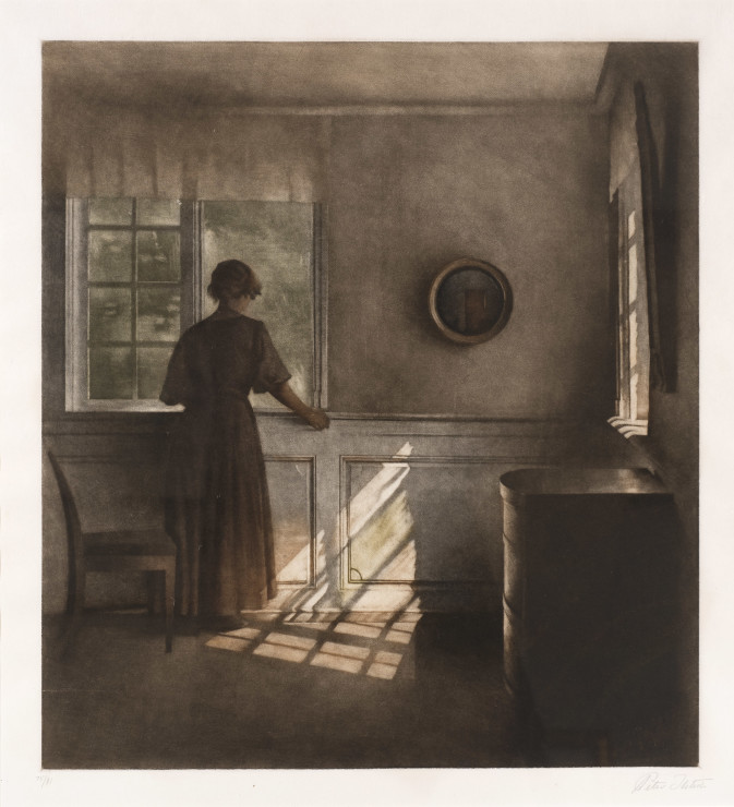 """<span class=""""artist""""><strong>Peter Ilsted</strong></span>, <span class=""""title""""><em>Woman by window</em></span>"""