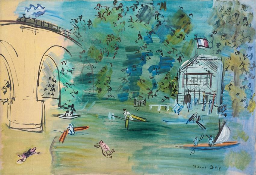 """<span class=""""artist""""><strong>Raoul Dufy</strong></span>, <span class=""""title""""><em>Les Canotiers, la Marne</em>, 1935</span>"""