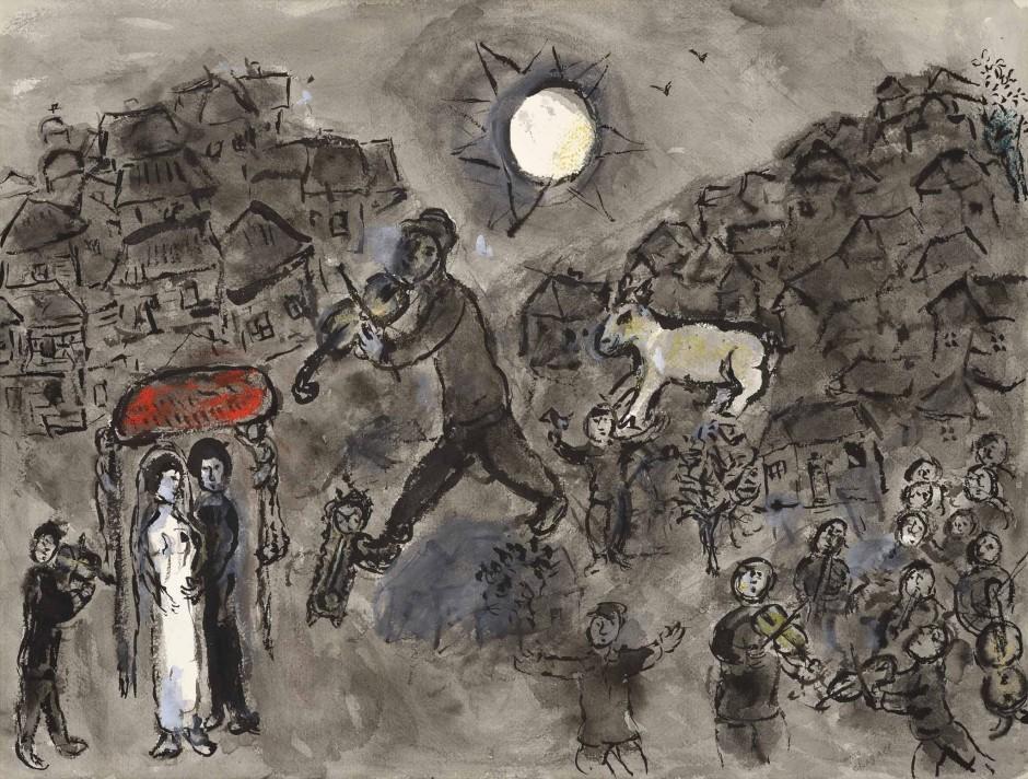 "<span class=""artist""><strong>Marc Chagall</strong></span>, <span class=""title""><em>Le violiniste du mariage</em>, c.1975</span>"