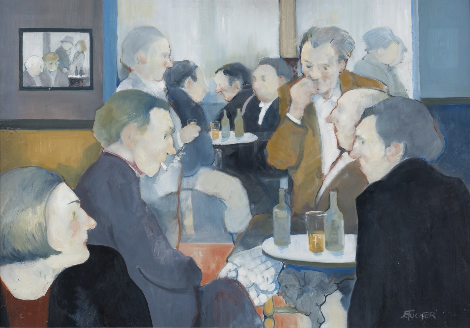 """<span class=""""artist""""><strong>Eric Tucker</strong></span>, <span class=""""title""""><em>Bar Scene with Tucker Painting on Wall</em></span>"""