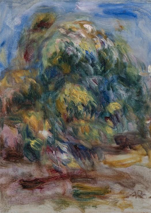 """<span class=""""artist""""><strong>Pierre-Auguste Renoir</strong></span>, <span class=""""title""""><em>Paysage à l'arbre</em>, 1917</span>"""
