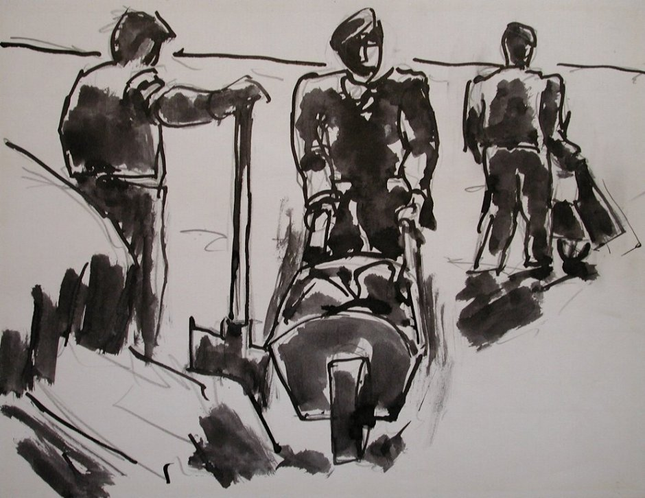 "<span class=""artist""><strong>Josef Herman</strong></span>, <span class=""title""><em>Three men with wheelbarrows</em>, 1969</span>"