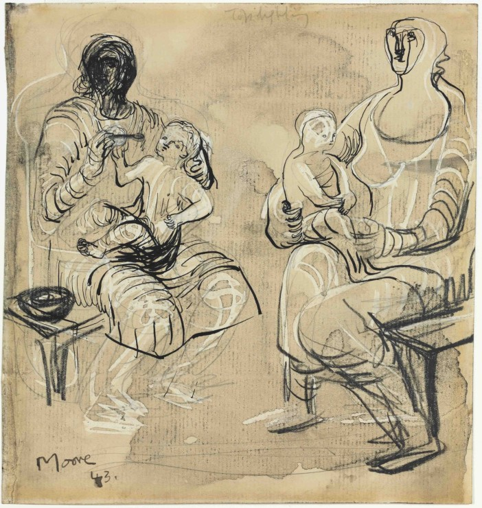 "<span class=""artist""><strong>Henry Moore</strong></span>, <span class=""title""><em>Madonna and Child Studies</em>, 1943</span>"