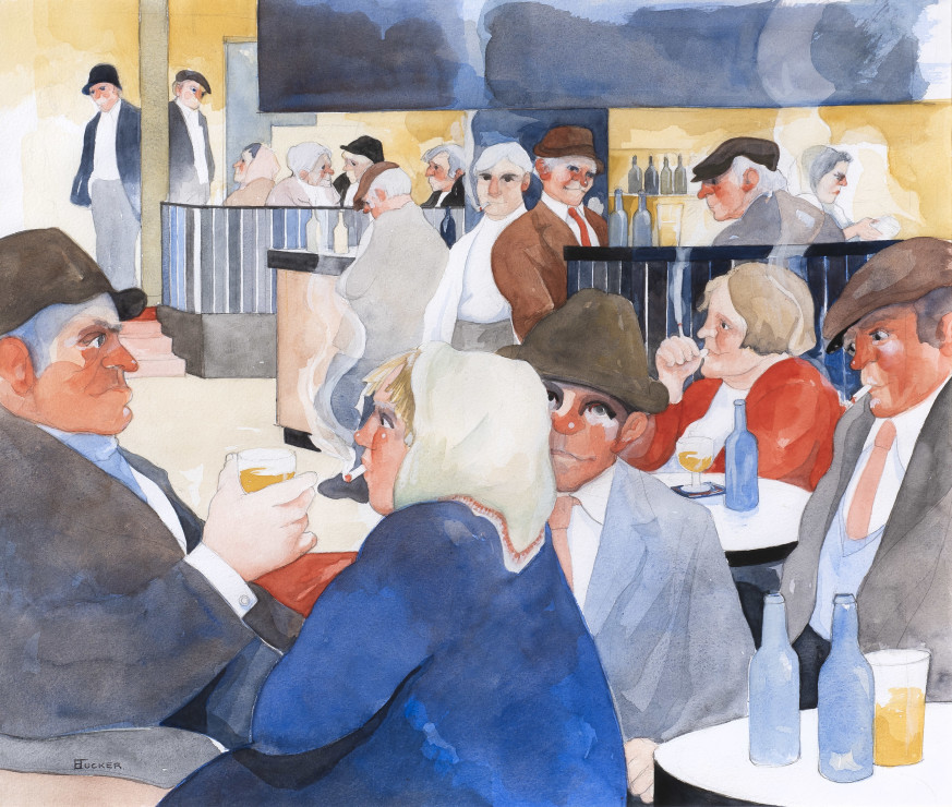 "<p><span class=""artist""><strong>Eric Tucker</strong></span>, <span class=""title""><em>City Bar - Lady with White Scarf</em><br /></span></p>"