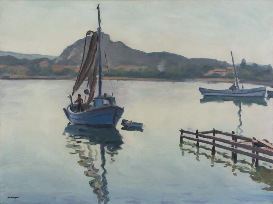 """<span class=""""artist""""><strong>Albert Marquet</strong></span>, <span class=""""title""""><em>Porquerolles</em>, 1938</span>"""