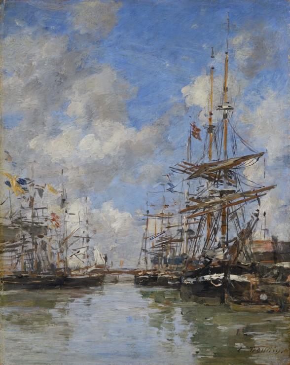 """<span class=""""artist""""><strong>Eugene Boudin</strong></span>, <span class=""""title""""><em>Deauville, voiliers à quai</em>, c.1882-1885</span>"""