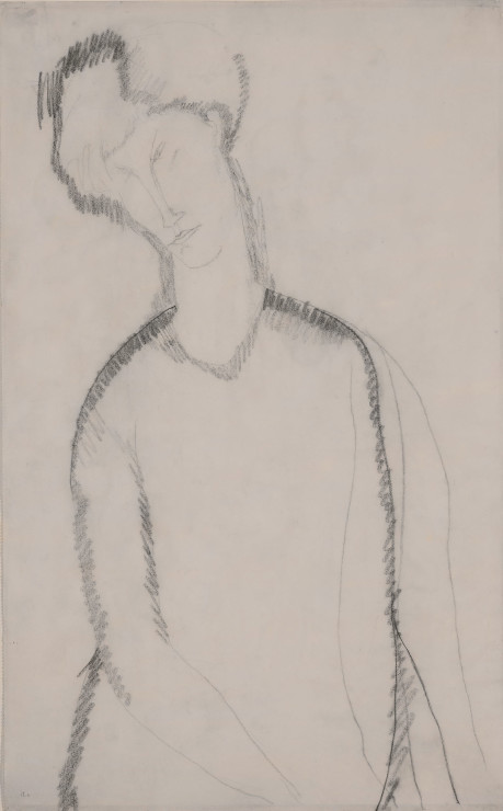 """<span class=""""artist""""><strong>Amedeo Modigliani</strong></span>, <span class=""""title""""><em>Femme Assise</em>, c. 1909</span>"""