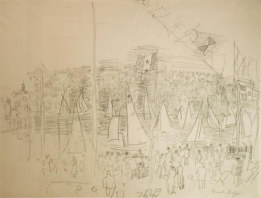 """<span class=""""artist""""><strong>Raoul Dufy</strong></span>, <span class=""""title""""><em>Régates à l'embouchure du port de Honfleur</em>, c.1930</span>"""