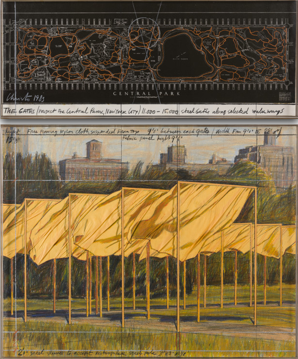"""<span class=""""artist""""><strong>Christo</strong></span>, <span class=""""title""""><em>The Gates (Project for Central Park, New York City)</em>, 1983</span>"""