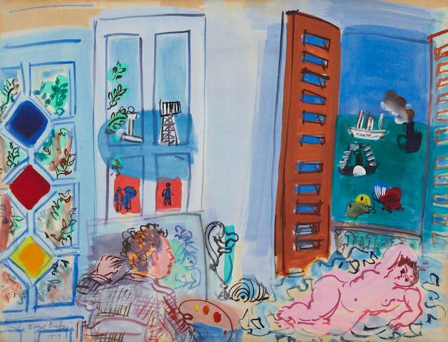 """<span class=""""artist""""><strong>Raoul Dufy</strong></span>, <span class=""""title""""><em>L'atelier de l'artiste au Havre</em>, 1929</span>"""