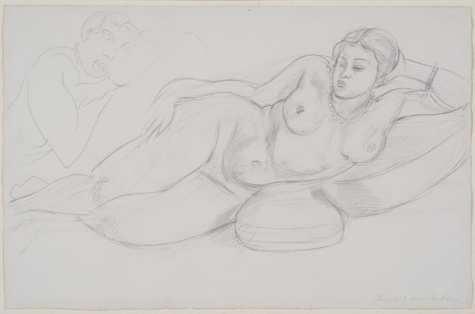"""<span class=""""artist""""><strong>Henri Matisse</strong></span>, <span class=""""title""""><em>Femme Couchée</em>, February 1928</span>"""
