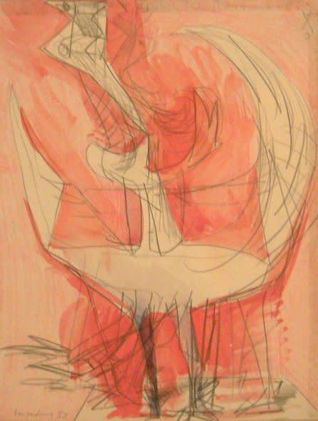 """<span class=""""artist""""><strong>Bernard Meadows</strong></span>, <span class=""""title""""><em>Drawing for sculpture</em>, 1955</span>"""