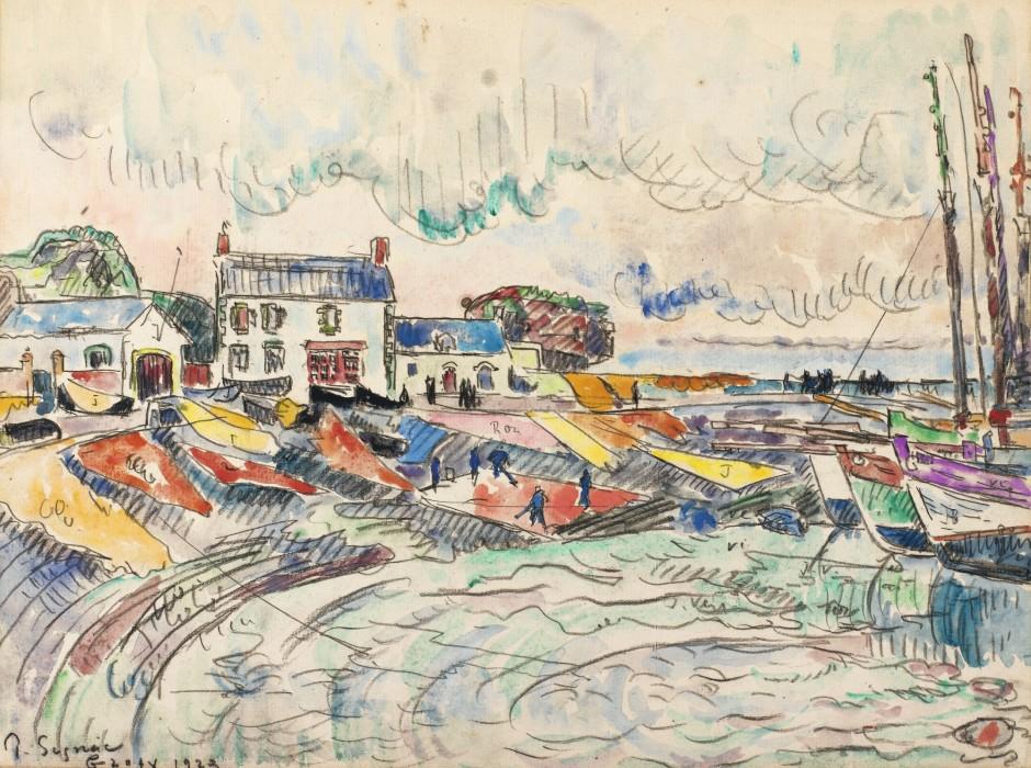 """<span class=""""artist""""><strong>Paul Signac</strong></span>, <span class=""""title""""><em>Groix, le nettoyage des voiles</em>, 1923</span>"""