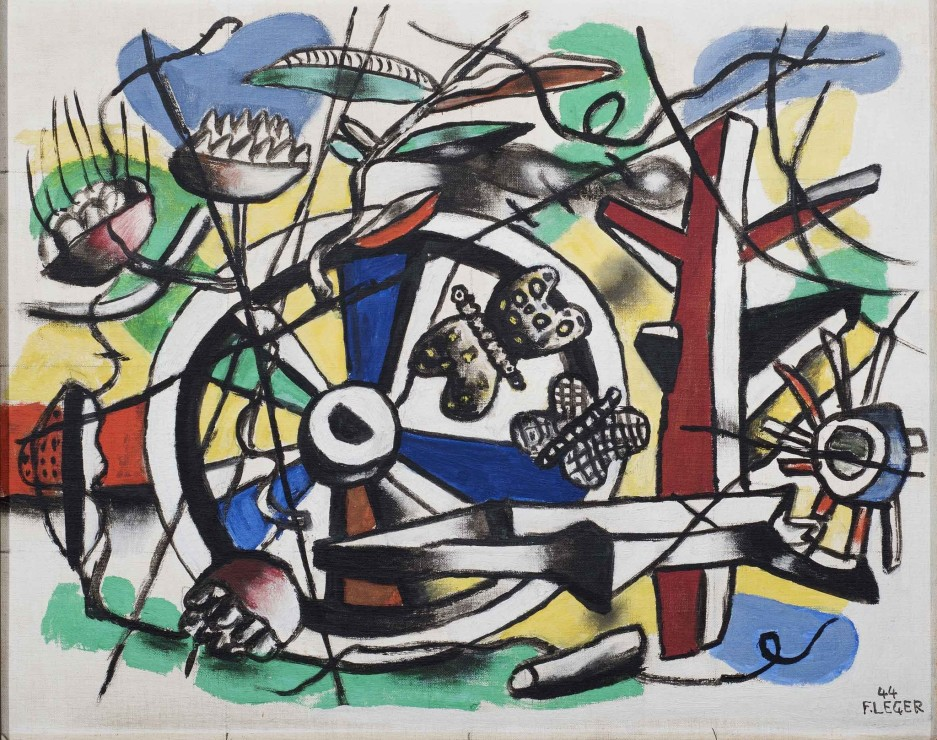 """<span class=""""artist""""><strong>Fernand Leger</strong></span>, <span class=""""title""""><em>Les Papillons dans la Roue</em>, 1944</span>"""