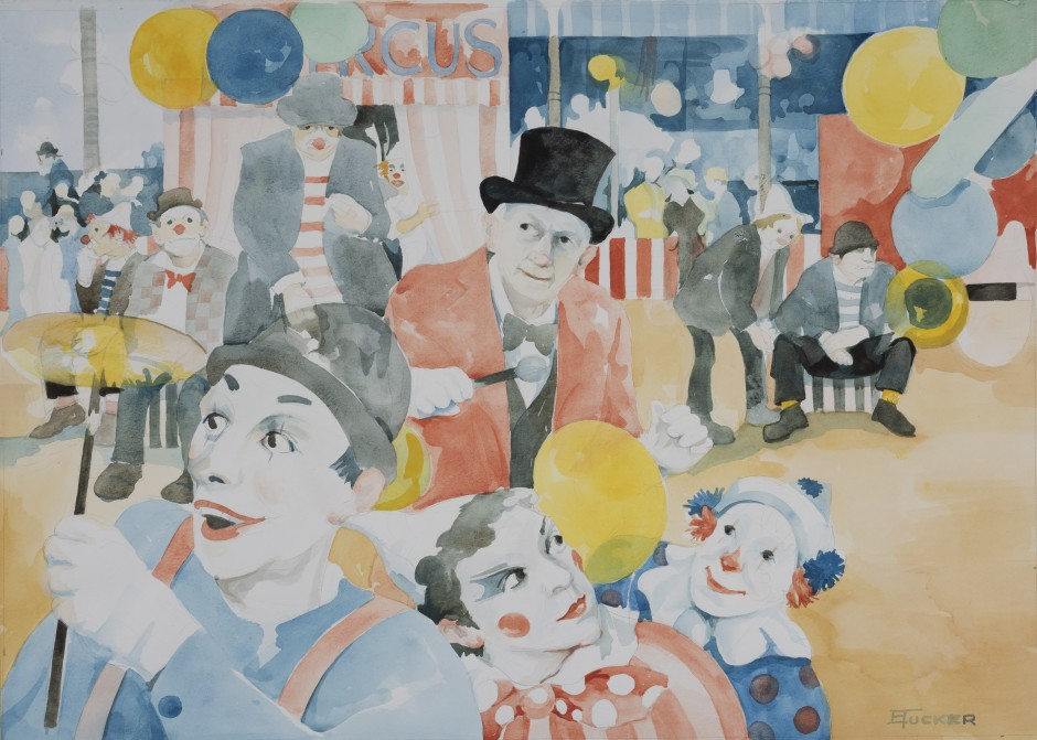 """<span class=""""artist""""><strong>Eric Tucker</strong></span>, <span class=""""title""""><em>Circus Scene with Plate Spinner and Ringmaster</em></span>"""