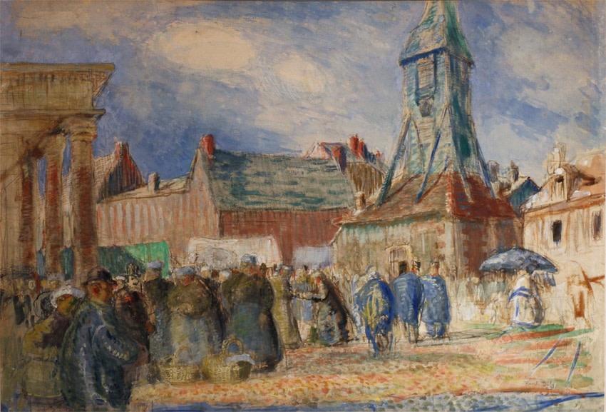 """<span class=""""artist""""><strong>Raoul Dufy</strong></span>, <span class=""""title""""><em>La Place Sainte-Catherine à Honfleur</em>, 1902</span>"""