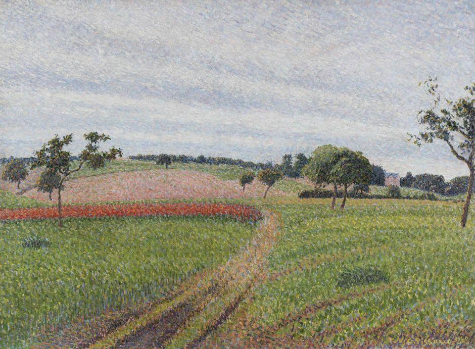 """<span class=""""artist""""><strong>Camille Pissarro</strong></span>, <span class=""""title""""><em>Les Coteaux de Thierceville, temps gris</em>, 1888</span>"""