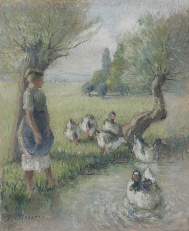 """<span class=""""artist""""><strong>Camille Pissarro</strong></span>, <span class=""""title""""><em>La gardeuse d'oies (la mare aux canards)</em>, c.1890</span>"""