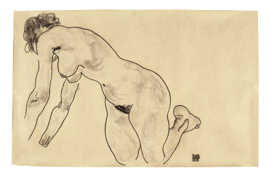 "<span class=""artist""><strong>Egon Schiele</strong></span>, <span class=""title""><em>Crouching Female Nude</em>, 1918</span>"