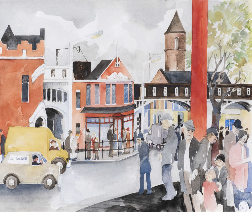 "<p><span class=""artist""><strong>Eric Tucker</strong></span>, <span class=""title""><em>Deansgate with E Tucker Van</em><br /></span></p>"