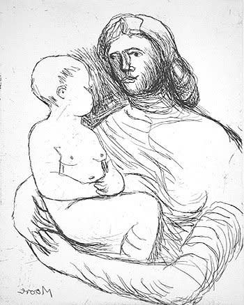 """<span class=""""artist""""><strong>Henry Moore</strong></span>, <span class=""""title""""><em>Mother and Child XXII</em>, 1983</span>"""