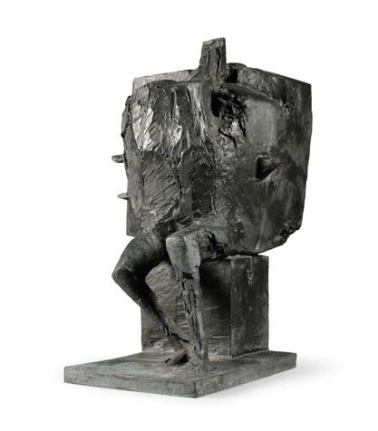 "<span class=""artist""><strong>Bernard Meadows</strong></span>, <span class=""title""><em>Seated armed figure: Personnage Tres Important</em>, 1962</span>"