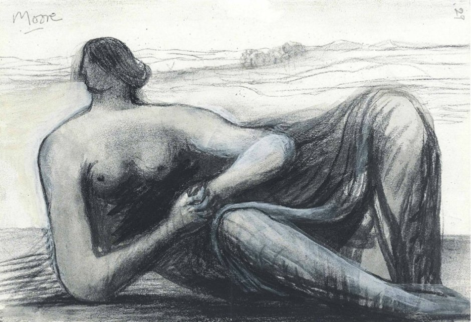 "<span class=""artist""><strong>Henry Moore</strong></span>, <span class=""title""><em>Draped Reclining Figure in a Landscape</em>, c. 1973/77</span>"
