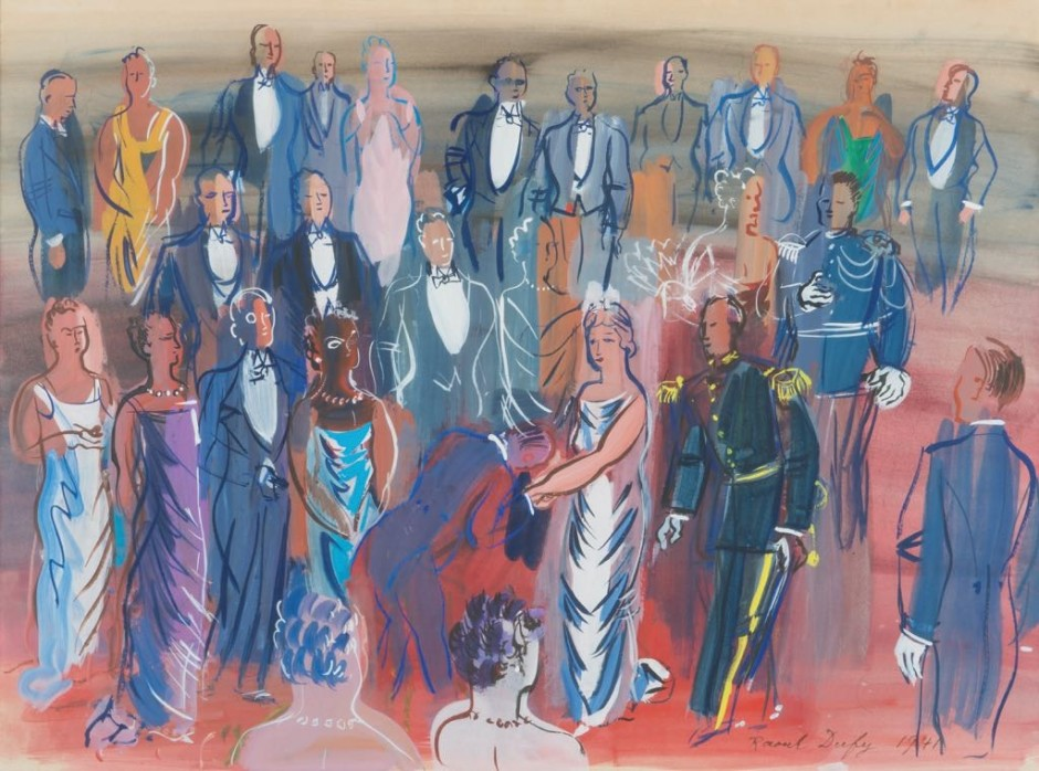 "<span class=""artist""><strong>Raoul Dufy</strong></span>, <span class=""title""><em>Reception mondaine</em>, 1941</span>"