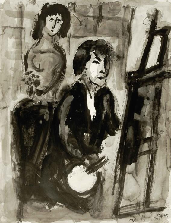 "<span class=""artist""><strong>Marc Chagall</strong></span>, <span class=""title""><em>Le Peintre au chevalet</em>, 1948</span>"