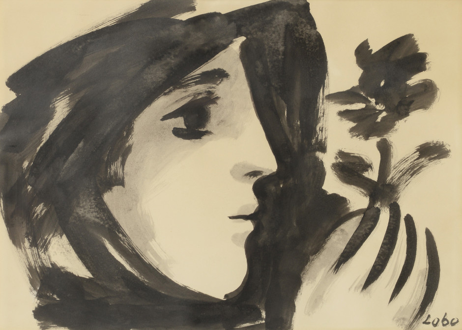 """<span class=""""artist""""><strong>Baltasar Lobo</strong></span>, <span class=""""title""""><em>Profil de femme à la fleur</em>, 1957</span>"""