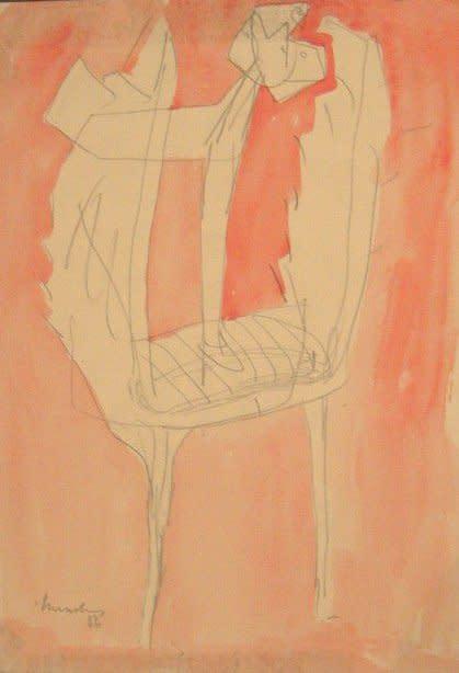 """<span class=""""artist""""><strong>Bernard Meadows</strong></span>, <span class=""""title""""><em>Drawing for sculpture</em>, 1956</span>"""