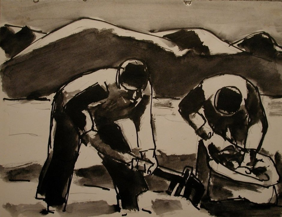 "<span class=""artist""><strong>Josef Herman</strong></span>, <span class=""title""><em>Potato harvest</em>, 1959</span>"