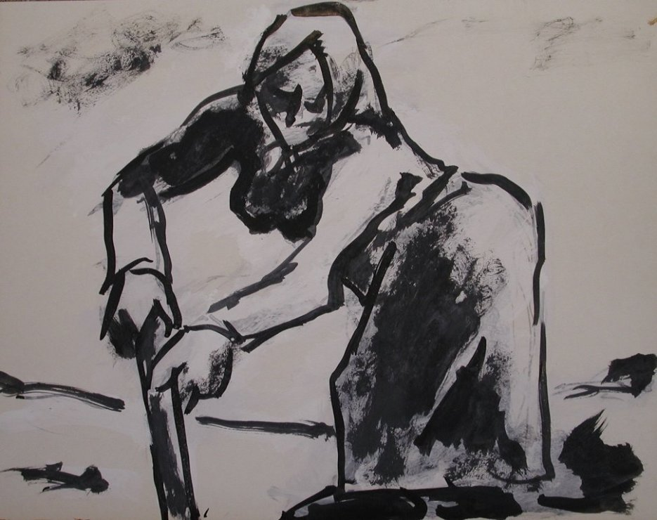 "<span class=""artist""><strong>Josef Herman</strong></span>, <span class=""title""><em>Woman in the fields</em>, 1968</span>"