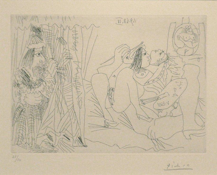 """<span class=""""artist""""><strong>Pablo Picasso</strong></span>, <span class=""""title""""><em>Raphael et la Fornarina: Le Pape Arrive</em>, 1968</span>"""