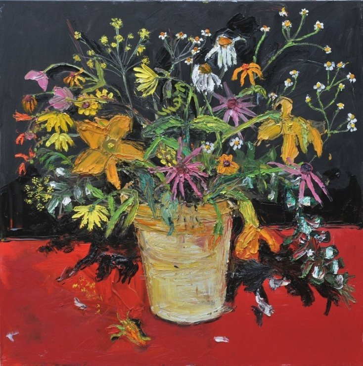 "<span class=""artist""><strong>Shani Rhys James</strong></span>, <span class=""title""><em>Flowers on a Red Table</em>, 2011</span>"