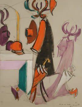 "<span class=""artist""><strong>Jean Hélion</strong></span>, <span class=""title""><em>Perroquet au miroir</em>, 12th July 1975</span>"