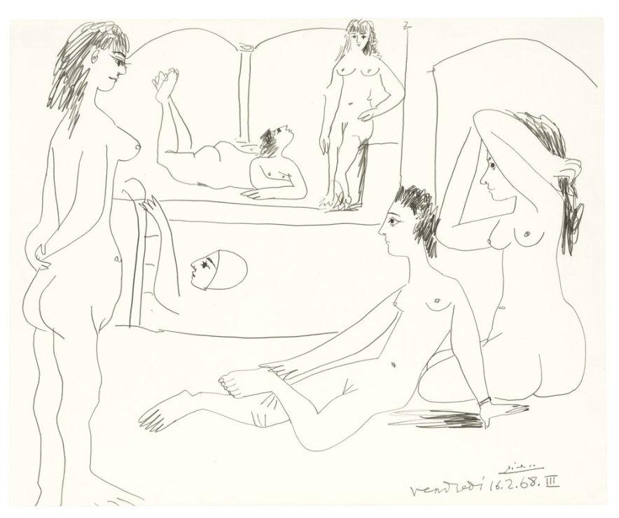 "<span class=""artist""><strong>Pablo Picasso</strong></span>, <span class=""title""><em>Le Bain</em>, 1968</span>"