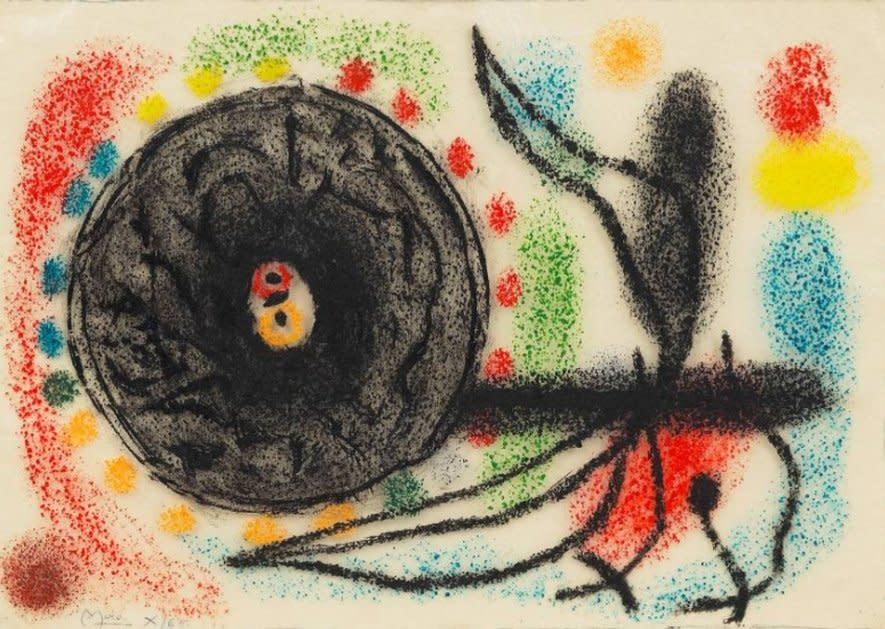 """<span class=""""artist""""><strong>Joan Miró</strong></span>, <span class=""""title""""><em>Le Lézard aux Plumes d'Or – Etude</em>, 1965</span>"""