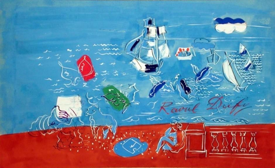"<span class=""artist""><strong>Raoul Dufy</strong></span>, <span class=""title""><em>Composition marine</em>, 1935</span>"